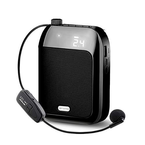 無線拡声器 2.4G技術内蔵 拡声器 ワイヤレスポータブル拡声器 ハンズフリー拡声器 ワイヤレスマイク付属 音楽再生/ラジオ放送/拡声/対応 USB充電式 TF/SDカード対応
