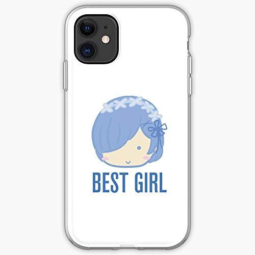 Rem Re Rezero Girl Best Zero Chibi Anime Compatible con iPhone 12/12 Pro MAX 12 Mini 11 Pro MAX SE 2020 X/XS MAX XR 8/7 6/6s Plus Caso Cajas de teléfono de TPU Suave