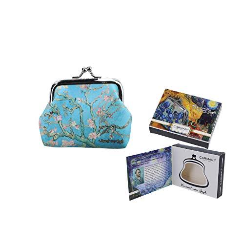 Carmani - Piccola portamonete da donna con chiusura a fibbia con Vincent Van Gogh'fiori di mandorle'