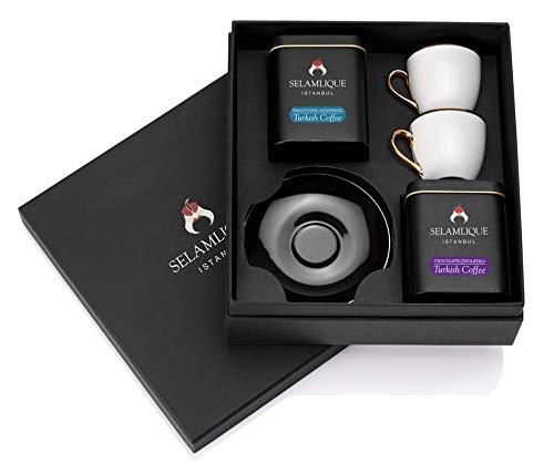 Klassischer türkischer Kaffee und Tassen, Geschenkset, Schwarz
