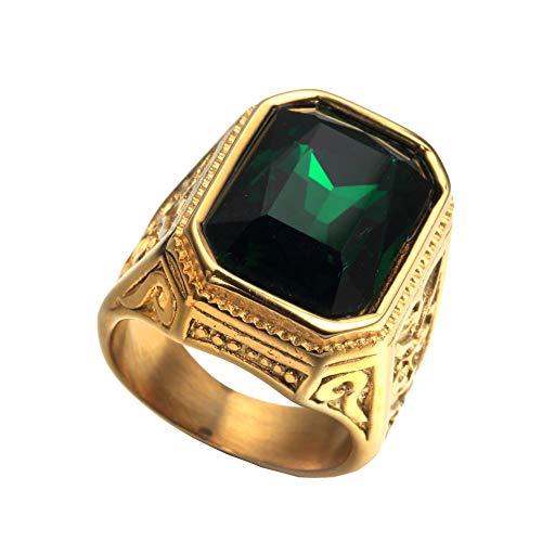 PAURO Anillo De Bodas Cuadrado Dorado De Oro De La Vendimia De Los Hombres De con Piedra Grande Rojo/Verde/Azul (Verde(Acero Inoxidable), 29)