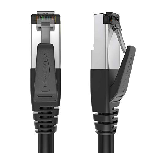 KabelDirekt - Cat 8 Netzwerkkabel - 2m - 40 Gigabit Ethernet, LAN & Patch Kabel (Cat 8.1 geeignet für Highspeed Netzwerke, Switch, Router, Modem, PC mit RJ45 Eingang, schwarz)