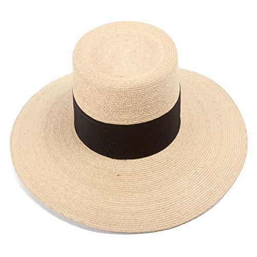 TYMTM Sombrero para El Sol Nuevo Sombrero De Rafia Natural De Alta Superior De ala Ancha Sombrero De Paja Moda Mujer Ancho Negro Cinta Sombrero De Playa Sombrero De Sol De Verano