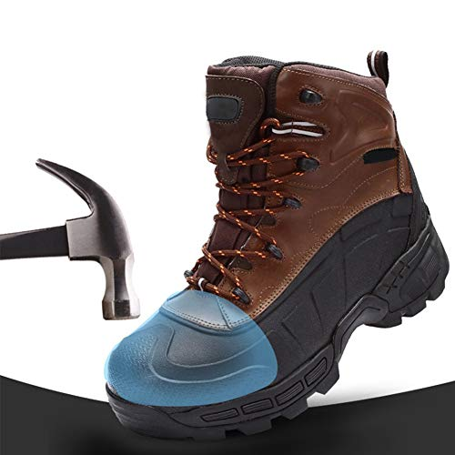 Mens Safety Boots Steel toe military boots Work Waterproof Shoes Leather Steel Toe Cap Working Ankle Lightweight Work Shoes Ankle Hiker,Brown,42