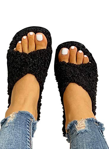 HOTAPEI Women's Faux Fur Slippers Fuzzy Slides Fluffy Sandals Open Toe Indoor Outdoor Black
