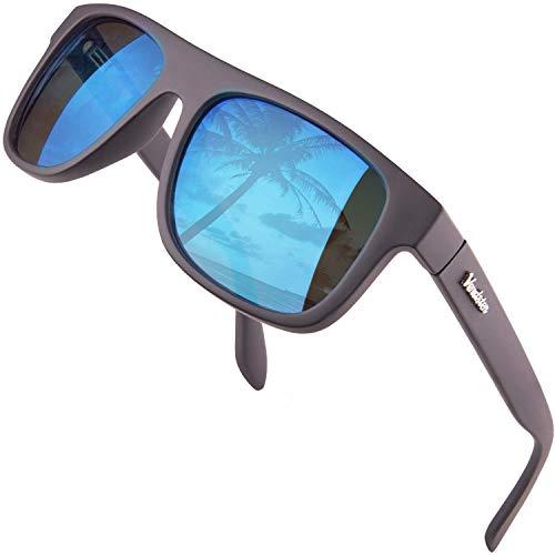 Verdster Islander - Breite Sonnenbrille Für Herren & Damen - Klassisches Design - Inklusive Accessoires - Verspiegelte Blaue Linse