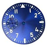 HMEILI Reloj Accesorios 38.8mm Dial de Reloj Azul con Forma Luminosa Verde Adecuada for Suiza ETA 6497 Y Caber for la Gaviota St3620 Movimiento