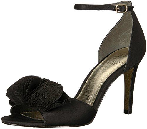 Adrianna Papell Women's Gracie Heeled Sandal, black satin, 5.5 M US