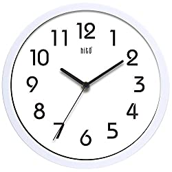 hito Silent Wall Clock Non Ticking 10 inch Excellent Accurate Sweep Movement Glass Cover, Decorative for Kitchen, Living Room, Bathroom, Bedroom, Office (White)