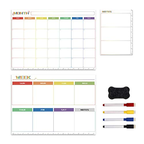 xishan Lowral Magnetic Whiteboard Kit Daily Weekly Monthly Planner Notes Fridge Magnet Drawing Pen Erase