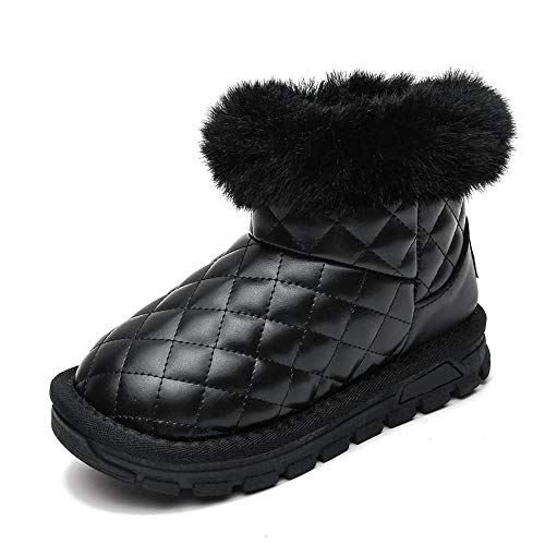 Botas De Invierno para Botas Cortas para niños de Invierno para niñas con Terciopelo y Cuero Grueso para Mantener el Calor-Negro_33Para Bebe NiñA NiñO Boots