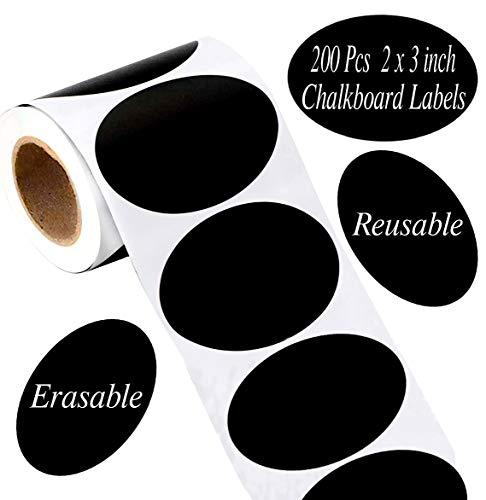 Large Oval Chalkboard Labels Waterproof & Reusable 2' x 3' - Vinyl Chalkboard Blackboard Stickers Chalk Labels for Mason Jars, Sugar Jars,Parties, Crafts Rooms, Weddings and Kitchen 200 Pcs/Roll