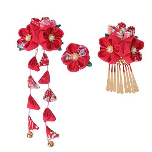 Lurrose doek bloem haarspeld Chinese haarspelden kwasten haarspelden haaraccessoires hoofdbedekkingen voor vrouwen dames 3 stuks (roze) Size 1 rood