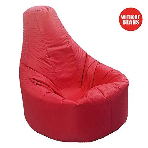 Aikeec Sitzsack mit hoher Rückenlehne, für drinnen und draußen, für Erwachsene, entspannend, wasserfest und witterungsbeständig (Füllung Nicht im Lieferumfang enthalten) - rot