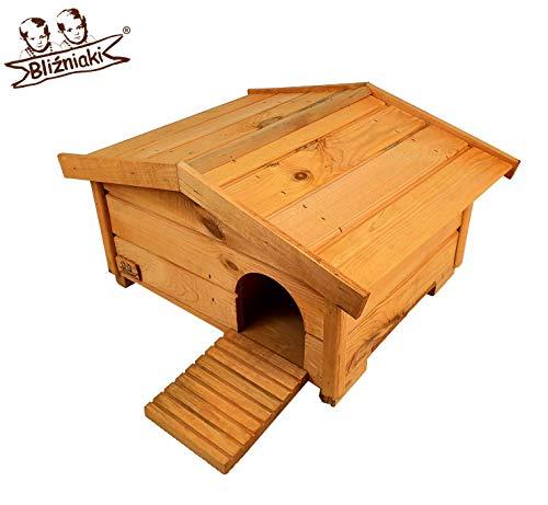 BLIŹNIAKI Hölzernes Igelhaus 37x47x25cm Abnehmbares Dach Holzboden Sicher für Igel Igelhütte Igelhotel ECO Igelhaus aus Holz Igelhotel für den Garten HDJ3 B