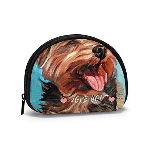 Bolsa de tela Oxford Yorkshire Terrier para perro monedero con cremallera pequeña bolsa de cambio, bolsa de maquillaje para cosméticos