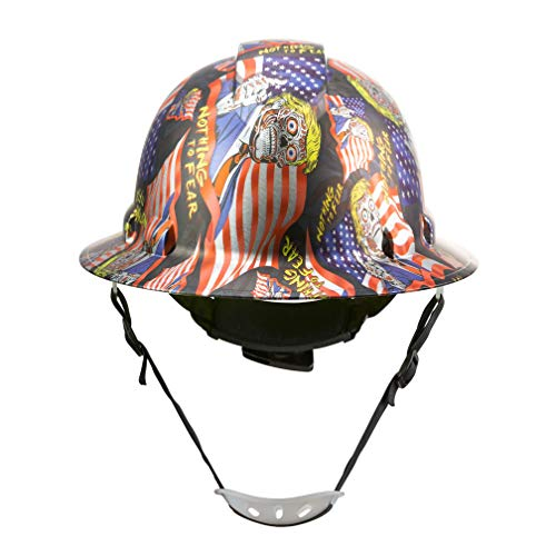 Full Brim Hard Hat Construction OSHA Approved Hardhats, Men Women Safety Helmet, 6 Point, Chin Strap, Custom Patriotic Design, by Acerpal, Nothing to Fear Zombie Trump