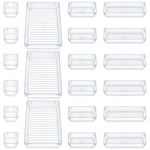 Furuix 21 pièces Boîtes de rangement de bureau, boîtes de rangement cosmétiques transparentes, boîtes de rangement multifonctionnelles, boîtes de rangement cosmétiques (transparentes)