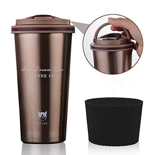 FAGORY Termo de Cafe Portatil Termo Taza Frasco de Vacio de Acero Inoxidable, Taza de Viaje Sin BPA, Antigoteo, Termica de Doble Pared, Aislado al Vacio Taza de te Reutilizable 500ML