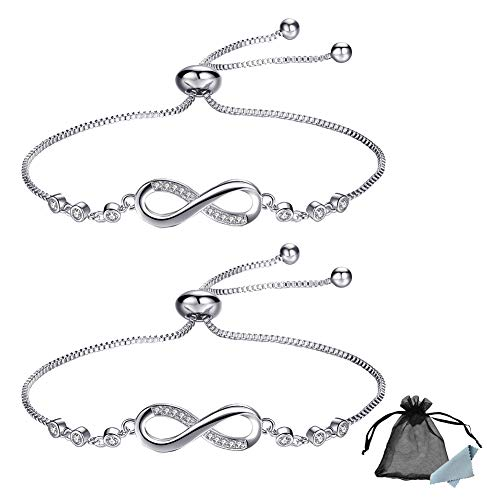 SwirlColor 2 Infinity Bracelets, Silver Adjustable Tennis Bracelet for Women Girls Friends Girlfriends Wife Mother, with 1 Jewelry Box, 1 Jewelry Bag, 1 Wiping Cloth