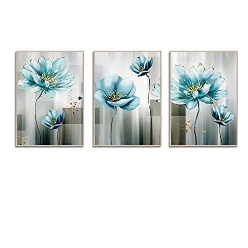 Cuadro abstracto de la lona de la flor azul, cuadro moderno del arte de la pared azul bebé para la sala de estar, Cuadros de impresión dorada, decoración del salón