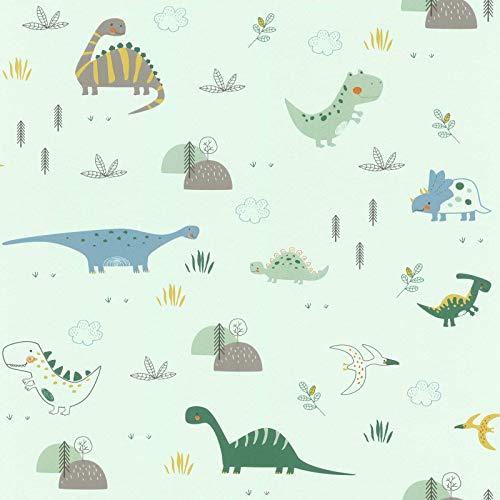 Rasch behang papierbehang (kindvriendelijk) groen 10,05 m x 0,53 m Bambino XVIII 249330 behang