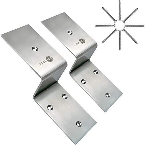"Heavy Duty Stainless Steel 2x4 Door Barricade Brackets| 1 Pair with Screws| Drop Open Bar Holder for 2 by 4 Lumber| U Bracket 2.5"" Wide| Security Bracket as Door Reinforcement Jammer Stopper Nightlock"