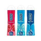 Durex Play Ausprobierpaket mit 3 verschiedenen Gleitgelen | Sweet Strawberry & Prickelnd & Feel (3 x 50ml)