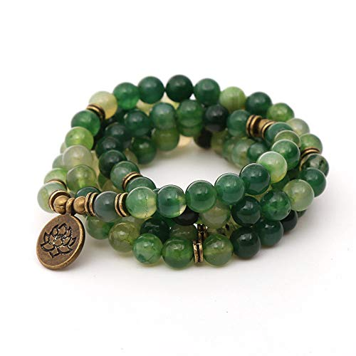 Natuurlijke steen armband, kraal armband 108 mode yoga energie kraal armband 8 mm groene draak agaat steen kraal Lotus hanger elastische kraal armband sieraden trui ketting gepersonaliseerde kleding accessoires