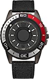 Orologio da Uomo cronografo Nero Ultra-Sottile Design Cool con puntatore a Sfera in Acciaio Inossidabile Magnete Orologio al Quarzo-Nylon Ne