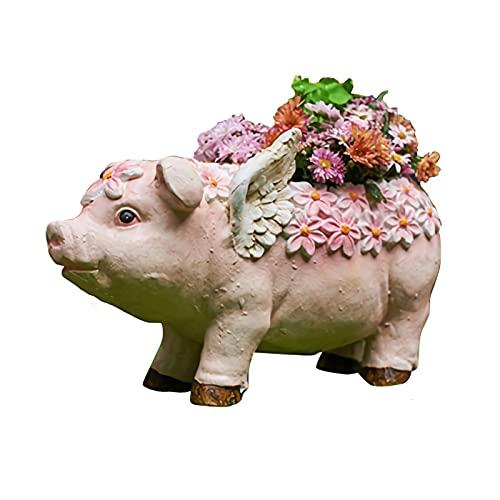 QXX-Garden decoration Pig Pot Planter Magnesium Oxide Flying Pig Statue Garden, Home, Yard, Patio Decor Animal Figurine