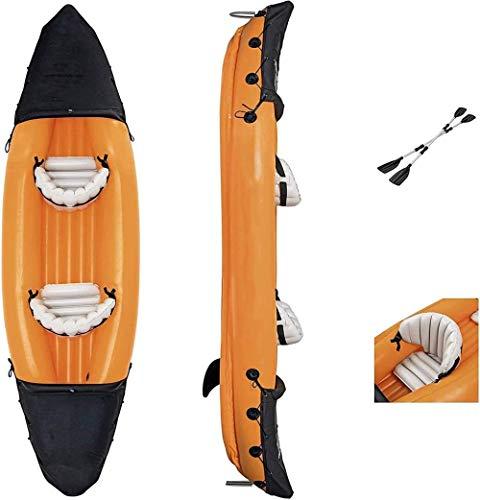 Personen Zweier Kajak K2 Schlauchboot - Aufblasbares Kajak Kanu mit Paddel, Pumpe,PVC Aufblasbare Dingy Boot Kajak für Wassersport Fischen oder Spielen auf Seeflüsse-Laden Sie 160 kg