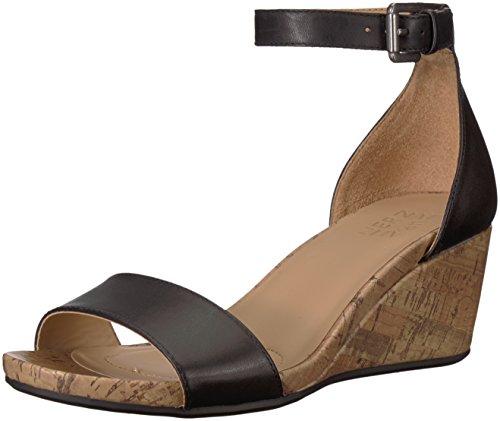 Naturalizer Women's CAMI Wedge Sandal, Black, 7.5 M US