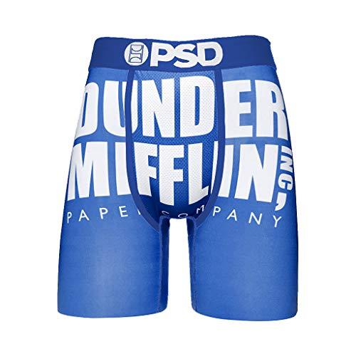PSD Men's Brief Underwear Bottom (Blue/Dunder Mifflin, S)