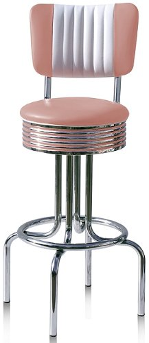 Bel Air Hocker Barhocker 2-er Set Gastronomie Barstuhl Bar Stuhl 50's Designerbarhocker Diner Hochstuhl (Dusty Rose/White)
