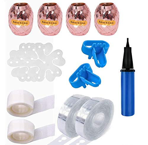 Balloon Kit,Balloon Arch Garland Kit,Balloon Ribbon,Balloon Arch Tape and Dots ,Used for Wedding Birthday Christmas Baby Flowers Anniversary Flower Clip DIY(Random Color of Pump)