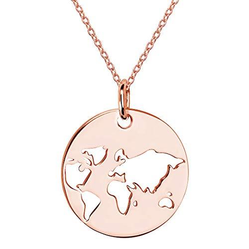 MATERIA Rosegold Kette Anhänger Weltkugel - 925 Silber Kettenanhänger Welt Erde rose gold 42 + 5cm in Etui KA-438