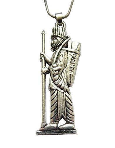 Soldat Anhänger Perserreich Infanterie der Kardakès bekannt als der unsterbliche Farvahar. Silberfarbener Silber-Anhänger. Kette 55 + 5 cm verstellbar.