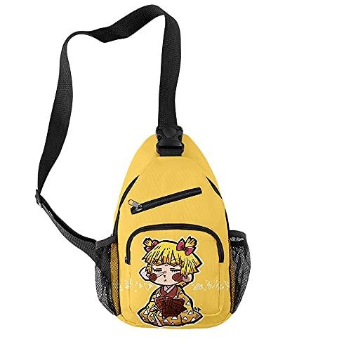 TIEHH Casual Bolsa de Hombro Anime Demon Slayer Moda Impermeable Oxford Boys Muchachas Bolsas de Pecho Unisex Lindo Bolsa de Viaje Crossbody Bolsa de Hombro