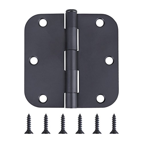 Pack of 1 Residential Door Hinge - 3.5 Inch - Black Finish - 5/8' Radius Corner - by Dependable Direct