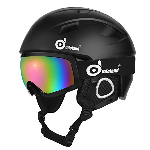 Odoland Snow Ski Helmet and Goggles Set, Sports Helmet and Protective Glasses - Shockproof/Windproof Protective Gear for Skiing, Snowboarding, Motorcycle Cycling, Snowmobile,Black,M