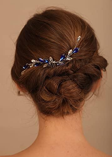 Denifery Blue Hair Comb Sapphire Color Hair Comb Blue and White Hair Comb Darc Blue Hair Comb Bridal Hair Comb Blue Hair Accessories