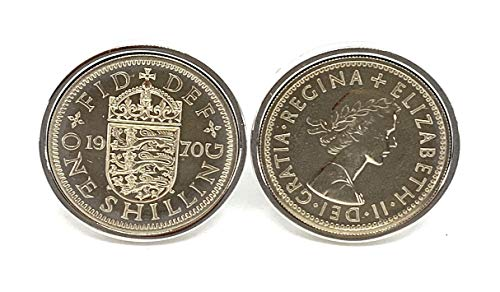 Premium 1970 Shilling coin for a 50th birthday gifts for men cufflinks Un-Circulated Coins 25mm