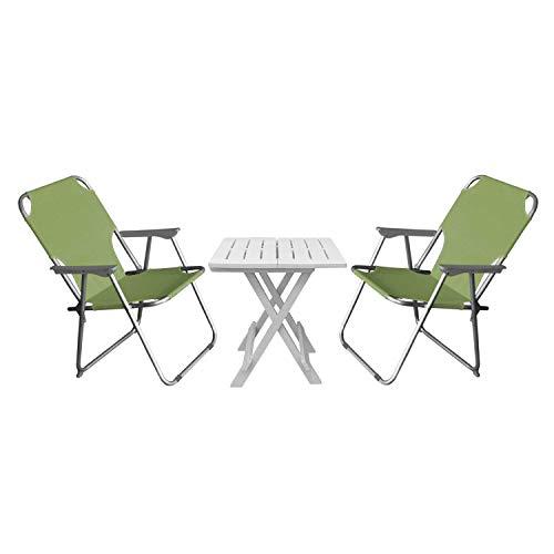 Multistore 2002 3tlg. Camping-Garnitur Klapptisch 55x75cm Weiß Kunststoff + 2 Campingstühle Klappstühle Grün Sitzgruppe Balkon Reise Campingmöbel Set