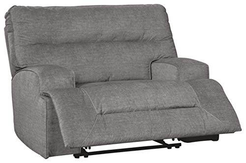 Signature Design by Ashley - Coombs Contemporary Wide Seat Power Recliner - Adjustable - Gray
