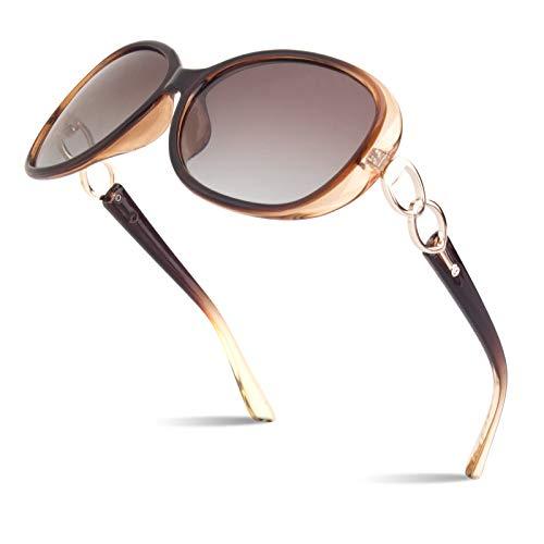 Polarized Sunglasses for Women Womens Sun Glasses Oversized Fashion Shades UV Protection Retro Designer Luxury Eyewear Transparent Brown Frame Gradient Browm Lens SUNIER S85