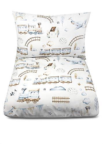 Balbina Juego de ropa de cama para bebé (100 x 135 cm, funda nórdica de 40 x 60 cm, funda de almohada de 40 x 60 cm), colores pastel, 2 piezas, 100% algodón, con cremallera (tren azul)