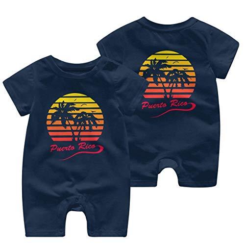Puerto Rico 80s Tropische zonsondergang pasgeboren kinderen korte mouw Romper Jumpsuit babykleding 0-24 maanden