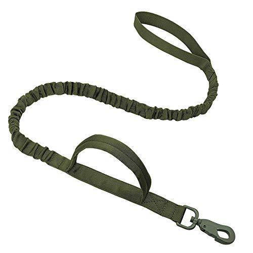 hundeleine für Grosse Hunde Taktische Hundeleine Nylon No-Pull Bungee Hundetraining führt militärische elastische Puffer Hundeleine für mittelgroße Hunde-Armeegrün_100-135 cm