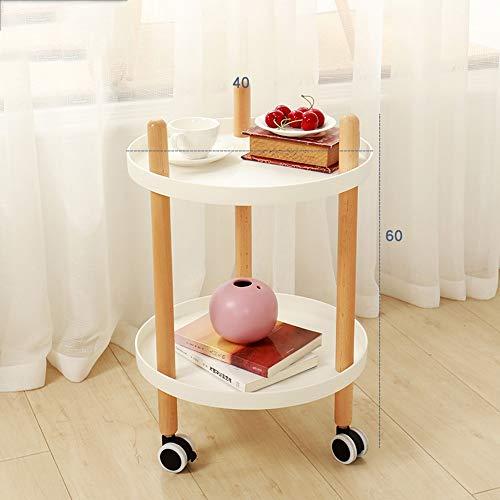 HAKN Petite Table Basse Mobile, Petite Table Basse de Forme Ronde et étagère Multifonctions pour Chariot de Cuisine 2 Couches Table Portable (Couleur : Blanc, Taille : 40 * 65cm)
